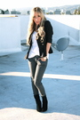 Black-soho-jacket-white-urban-outfitters-skirt-gray-forever-21-pants-black