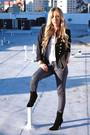 Black-soho-jacket-white-urban-outfitters-skirt-gray-forever-21-pants-black