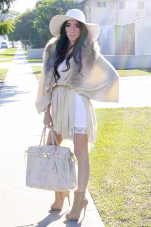 white H&M dress - neutral coat - H&M accessories - white American Apparel hat -