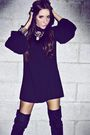 Black-soho-dress-black-boots-silver-accessories-black