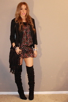 black bag - black boots - black dress - black jacket