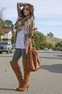 H&M purse - leggings - shirt - Forever 21 bra - fox fur H&M accessories