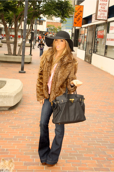 camel coat - black hat - black HAUTE & REBELLIOUS bag - bubble gum blouse - tawn