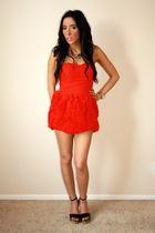 red H&M dress - black downtown la shoes