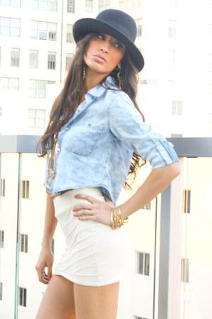 sky blue wwwshophandrcom shirt - gold wwwshophandrcom bracelet - cream mini skir