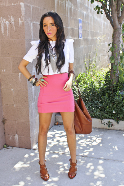 pink H&M skirt - brown Breckells shoes - white Piko shirt - brown H&M purse