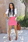 Pink-h-m-skirt-white-piko-shirt-brown-breckells-shoes-brown-h-m-purse