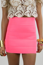 bubble gum banded HAUTE & REBELLIOUS skirt