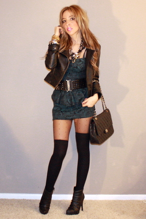 H&M stockings - Quipid boots - black f21 dress - Chanel bag - H&M socks