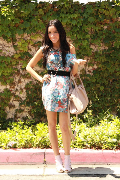 blue Forever 21 dress - beige H&M shoes - beige H&M purse