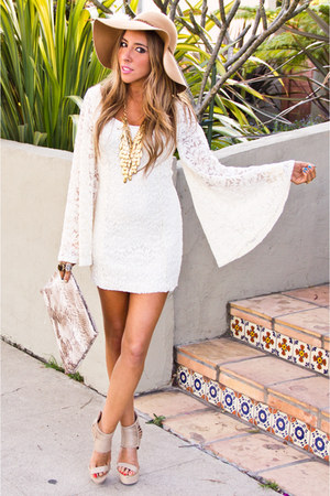 white HAUTE &amp; REBELLIOUS dress - bronze flopy hat Aldo hat