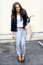 black faux fur H&M jacket - leopard print shoes - heather gray H&M pants