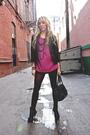 Pink-forever-21-blouse-black-american-appparel-skirt-black-vintage-blazer-