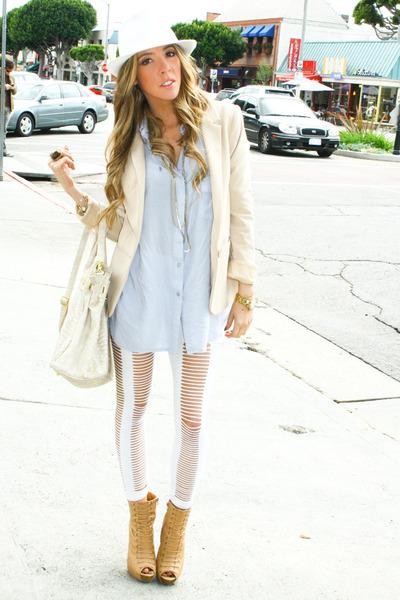 beige H&M blazer - white HAUTE&REBELLIOUS leggings