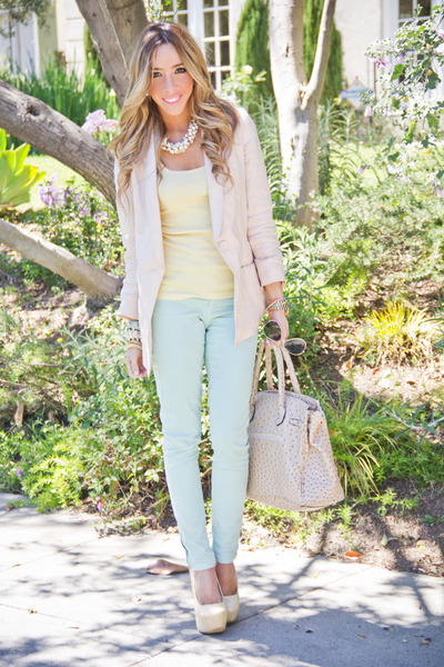 aquamarine Zara pants - light pink H&M blazer - cream HAUTE & REBELLIOUS bag