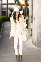wool American Apparel hat - peach chiffon H&M blouse - cream fur Forever 21 vest