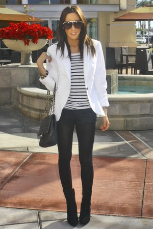 white Zara blazer - black oldies boots - black H&M shirt - black shorts