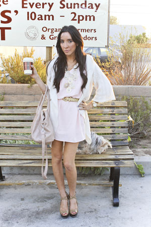 pink Honey Punch dress - pink H&amp;M purse - white sweater - gold Forever 21 access