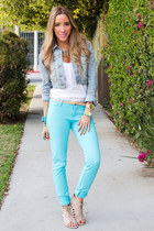 sky blue HAUTE & REBELLIOUS pants - aquamarine HAUTE & REBELLIOUS heels