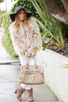 beige HAUTE & REBELLIOUS bag - tan Zara coat - dark brown HAUTE & REBELLIOUS hat