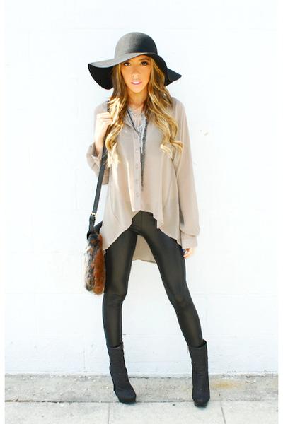 black wool flopy hat American Apparel hat - black liquid H&M leggings