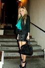Black-skirt-green-blouse-black-jacket-black-shoes