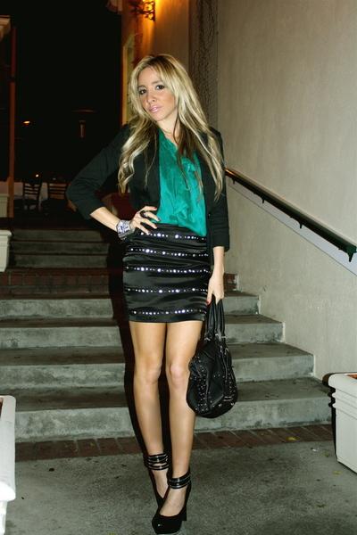 black skirt - green blouse - black jacket - black shoes