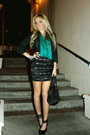 Black-skirt-green-blouse-black-jacket-black-shoes