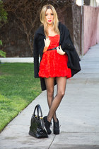 red H&M dress - black HAUTE & REBELLIOUS bag