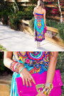 Turquoise-blue-tribal-print-haute-rebellious-dress