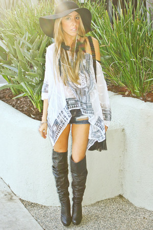white HAUTE &amp; REBELLIOUS top - black HAUTE &amp; REBELLIOUS boots
