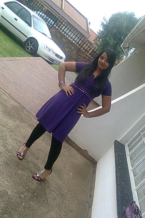 purple Edgars dress - purple unknown top - purple Woolworths shoes - black zero