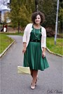 Teal-hlns-dress-eggshell-vintage-bag-tan-no-brand-pumps