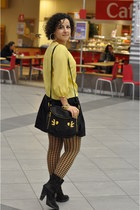 black Zara boots - black Wolford tights - black Marc by Marc Jacobs bag - yellow