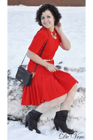 black no brand boots - red vintage dress - cream H&M tights - black Coach Vintag
