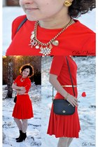red vintage dress - black coach bag - gold Chanel earrings - gold lindex necklac