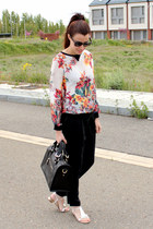 Zara blouse - Uterque bag - ray-ban sunglasses - Zara pants - Max Mara sandals