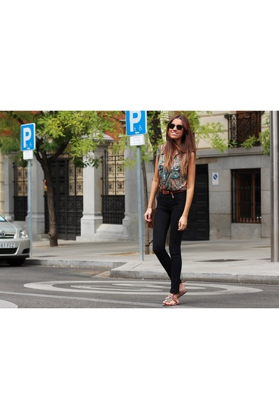 ray-ban sunglasses - Mango blouse - H&M pants - Laidback London sandals