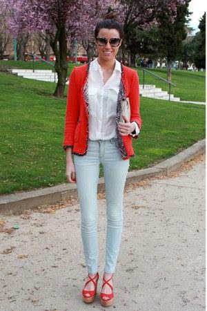 Zara jeans - Zara blazer - Miu Miu sunglasses - Zara blouse
