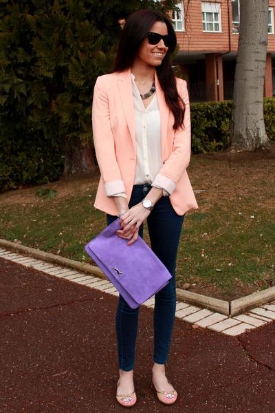 Zara blazer - Mango jeans - Bimba y Lola bag - rayban sunglasses - Zara flats