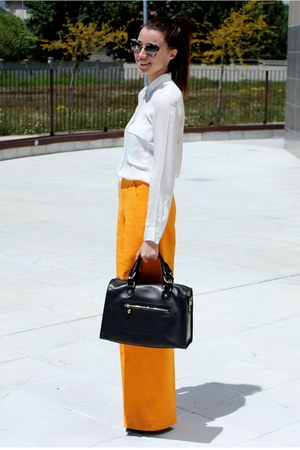 Zara blouse - Uterque bag - Miu Miu sunglasses - Zara pants