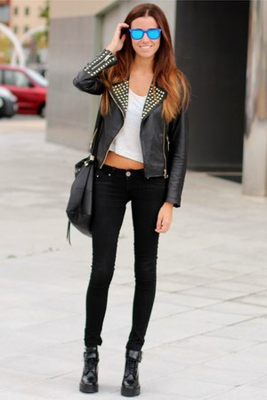 Zara boots - Zara jacket - ray-ban sunglasses