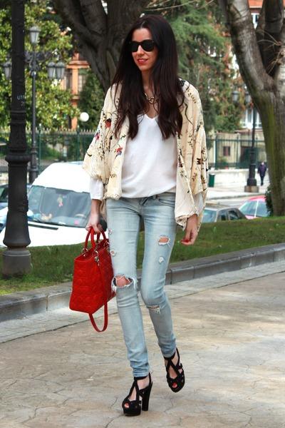 red dior bag - Bershka jeans - Zara jacket - Zara heels