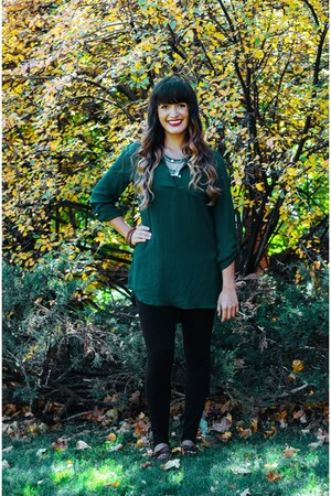 forest green sheer Uptown Cheapskate shirt
