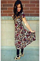 gold clock Urban Outfitters necklace - maroon floral print vintage dress