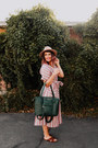 Coral-stripes-free-people-dress-green-leather-lily-jade-bag