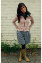 dark khaki faux leather Forever young boots - light pink Express jacket