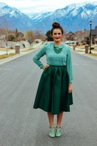 dark green midi Choies skirt - teal Choies shirt