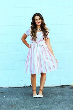 pink candy stripes eShakti dress - ivory color block tildon flats