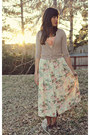Cream-floral-print-vintage-skirt